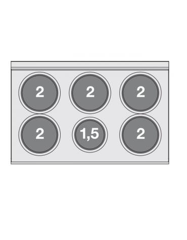 Piano di cottura elettrico in acciaio inox CrNi 18/10 AISI 304 - trifase-11,5kw, 6 piastre - cm 100x65x29h