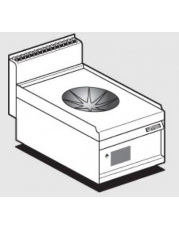 Piano di cottura elettrico trifase-5kw con comandi digitali, 1 piano di cottura Ø cm 30 a induzone WOK - cm 40x65x29h