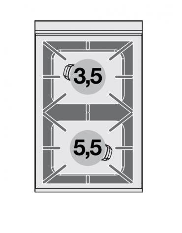 Piano di cottura in acciaio inox CrNi 18/10 AISI 304 a gas 2 fuochi - potenza gas: 9 kW - 7.740 kcal/h - cm 40x65x29h