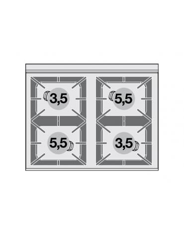 Piano di cottura in acciaio inox CrNi 18/10 AISI 304 a gas 4 fuochi - potenza gas: 18 kW - 15.480 kcal/h - cm 80x65x29h