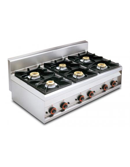 Piano di cottura in acciaio inox CrNi 18/10 AISI 304 a gas 6 fuochi - potenza gas: 27 kW - 23.220 kcal/h - cm 120x65x29h