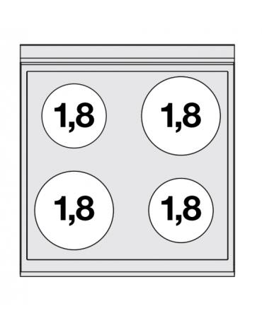 Piano di cottura elettrico trifase-7,2kw, con 4 piani di cottura cm 56X52 in vetroceramica - cm 60x65x29h