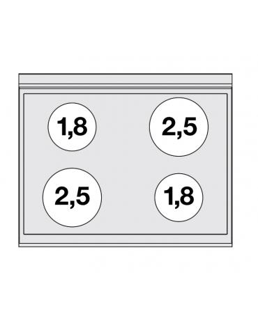 Piano di cottura elettrico trifase-8,6kw, con 4 piani di cottura cm 76X52 in vetroceramica - cm 80x65x29h