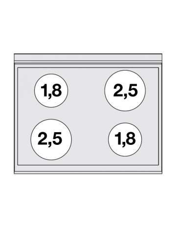 Cucina elett. trifase-11.71kw, 4 piastre in vetroceramica, forno elett., camera cm 53x32,5 GN1/1, porta in vetro - cm 80x65x87h