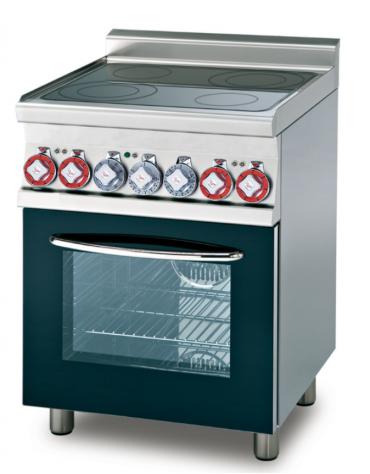 Cucina elett. trifase-11.71kw, 4 piastre in vetroceramica, forno elett., camera cm 53x32,5 GN1/1, porta cieca - cm 80x65x87h