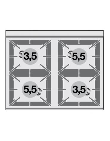 Cucina a gas 4 fuochi su forno a gas statico, camera cm 64x39x35h porta cieca inox, 1 griglia - cm 80x65x87h