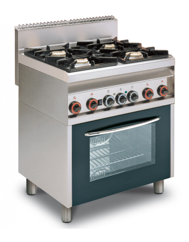 Cucina a gas 4 fuochi su forno elettrico statico, camera cm 64x42x35h, porta in vetro, 1 griglia - cm 80x65x87h