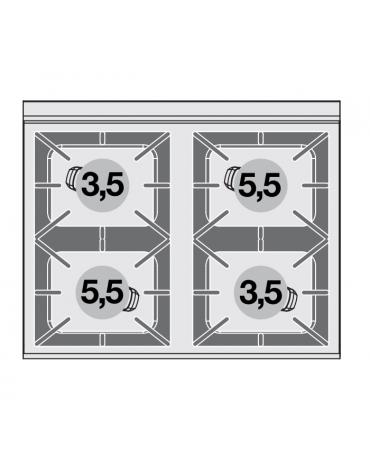 Cucina a gas 4 fuochi su forno elettrico multifunzione, camera cm 64x37x35h, porta in vetro, 1 griglia - cm 80x65x87h