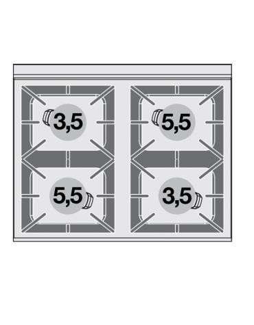 Cucina a gas 4 fuochi su forno elettrico statico, camera cm 64x42x35h, porta cieca inox, 1 griglia - cm 80x65x87h