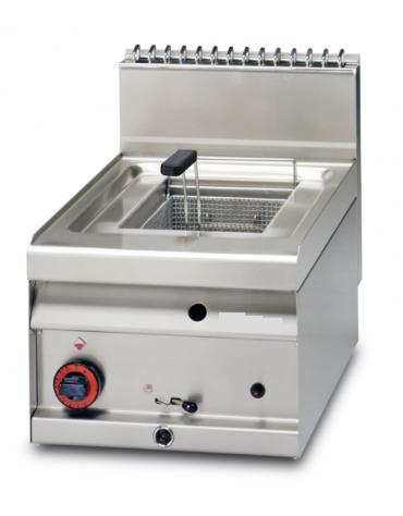 Friggitrice a gas da banco - 1 vasca cm 22x35x25h, 10Lt., produzione patate kg. 10 - cm 29x65x29h