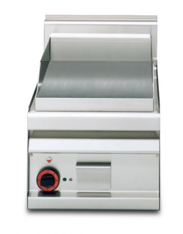 Fry top elettrico trifase-3kw da banco, piastra liscia cm 35x56, r. temp. 50 a 300 °C - dim. 40x65x29h