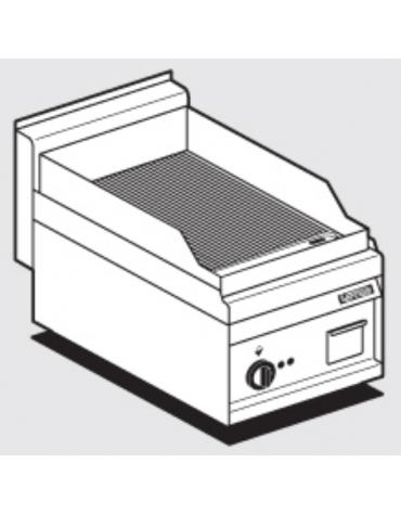 Fry top elettrico monofase-3kw da banco, piastra rigata cm 35x56, r. temp. 50 a 300 °C - dim. 40x65x29h