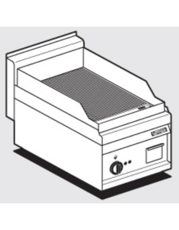 Fry top elettrico trifase-4,5kw da banco, piastra rigata cm 35x56, r. temp. 50 a 300 °C - dim. 40x65x29h