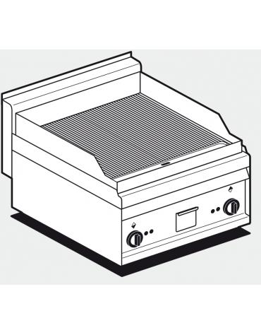 Fry top elettrico trifase-6kw da banco, piastra doppia rigata cm 55x56, r. temp. 50 a 300 °C - dim. cm 60x65x29h