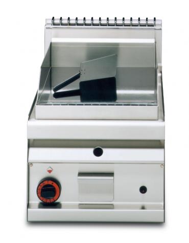 Fry top a gas da banco, 7kw, piastra liscia cromata, consumo gas 0,181m³/h - sup. di cottura cm 35x56 - cm 40x65x29h
