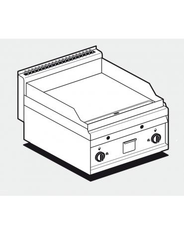 Fry top a gas da banco, 10,5kw, piastra doppia liscia, consumo gas 0,265m³/h - sup. di cottura cm 55x56 - cm 60x65x29h