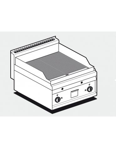 Fry top a gas da banco, 10,5kw, piastra doppia liscia cromata, consumo gas 0,265m³/h - sup. di cottura cm 55x56 - cm 60x65x29h