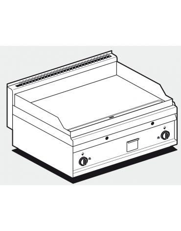 Fry top a gas da banco, 14kw, piastra doppia liscia, consumo gas 0,349m³/h - sup. di cottura cm 75x56 - cm 80x65x29h