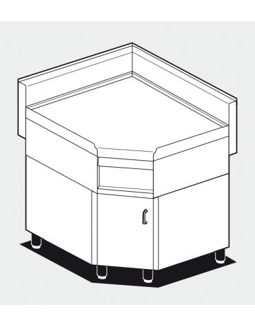 Piano di lavoro ad angolo su mobile in acciaio inox CrNi 18/10 AISI 304 - 1 vano - cm.85÷85x65x87h