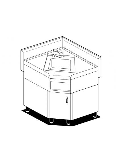 Lavello ad angolo su mobile in acciaio inox CrNi 18/10 AISI 304 - 1 vasca,  rubinetto a leva, 1 vano - cm.85÷85x65x87h