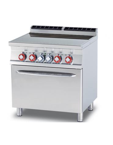 Cucina elett. trifase-15kw, 4 piastre in vetroceramica su forno elettrico statico, camera cm 67x55x34h - cm 80x70,5x90h