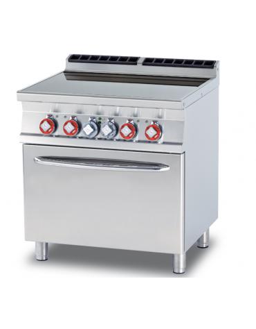Cucina elett. trifase-15,72kw, 4 piastre in vetroceramica su forno elettrico ventilato, camera cm 55x36x34h - cm 80x70,5x90h