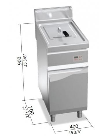 Friggitrice a gas 1 vasca 20 lt cm 40x70x85h-Comandi elettronici