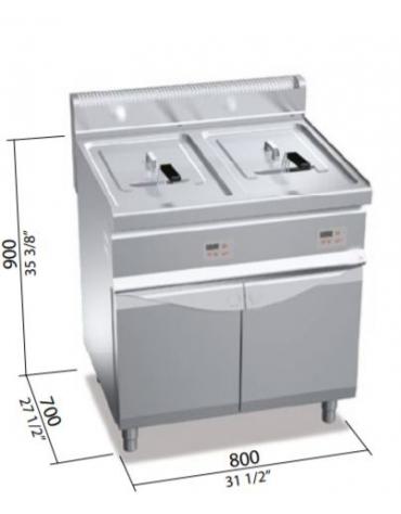 Friggitrice a gas 2 vasche 20+20 lt - Comandi elettronici