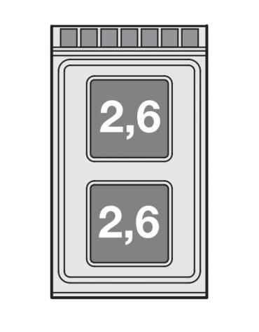 Piano di cottura in acciaio inox CrNi 18/10 AISI 304 trifase-5,2kw, 2 piastre quadre su mobile a giorno - cm 40x70,5x90h