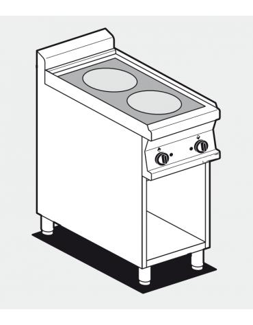 Piano di cottura inox CrNi 18/10 AISI 304 trifase-5kw, 2 zone di cottura in vetroceramica su mobile a giorno - cm 40x70,5x90h