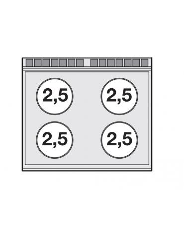 Piano di cottura inox CrNi 18/10 AISI 304 trifase-10kw, 4 zone di cottura in vetroceramica su mobile a giorno - cm 80x70,5x90h