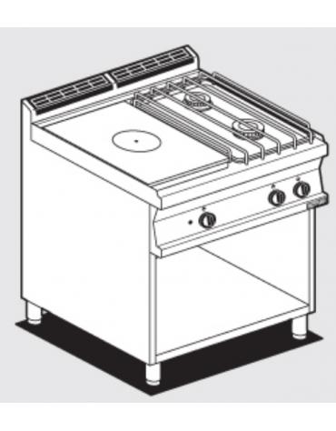 Cucina tuttopiastra a gas in acciaio inox CrNi 18/10 AISI 304, 2 fuochi 1 piastra cm 37x57, su mobile a giorno - cm 80x70,5x90h