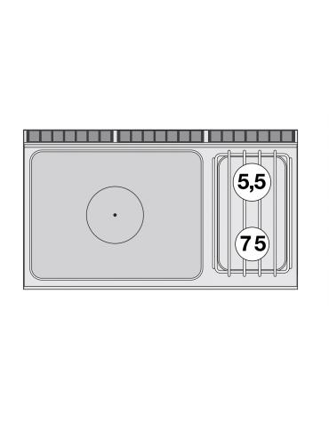 Cucina tuttopiastra a gas in acciaio inox CrNi 18/10 AISI 304, 2 fuochi 1 piastra cm 77x57, su mobile a giorno - cm 120x70,5x90h