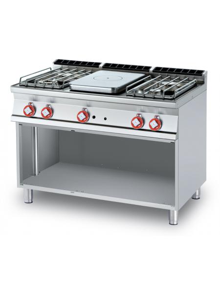 Cucina tuttopiastra a gas in acciaio inox CrNi 18/10 AISI 304, 4 ...