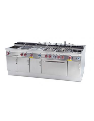 Cucina  tuttopiastra a gas, piastra cm 77x57, su forno a elettrico ventilato, camera cm 57x36x34h - dim. tot. cm 80x70,5x90h