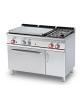 Cucina a gas 2 fuochi, 1 piastra cm 77x57, forno a gas statico, camera 67x55x34h, 1 vano neutro con porta - cm 120x70,5x90h