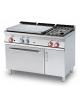 Cucina a gas 2 fuochi, 1 piastra cm 77x57, forno a elett. statico, camera 67x55x34h, 1 vano neutro con porta - cm 120x70,5x90h