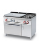 Cucina a gas 2 fuochi, 1 piastra cm 77x57, forno a elett. ventilato, camera 55x36x34h, 1 vano neutro con porta - cm 120x70,5x90h