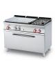 Cucina a gas 2 fuochi, 1 piastra cm 77x57, forno a gas statico, camera 107x55x34h - cm 120x70,5x90h