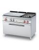 Cucina a gas 2 fuochi, 1 piastra cm 77x57, forno a elettrico statico, camera 107x55x34h - cm 120x70,5x90h