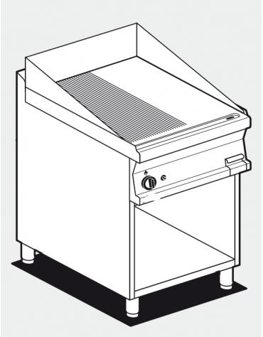 Fry top a gas su mobile a giorno10,5 kw, piastra 1/2 liscia - 1/2 rigata cromata, piastra cm 56x51  - dim. 60x70,5x90h