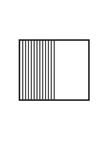 Fry top elettrico trifase-11,1kw su mobile a giorno, piastra 1/2 liscia, 1/2 rigata cromata cm 76x51 - dim. 80x70,5x90h