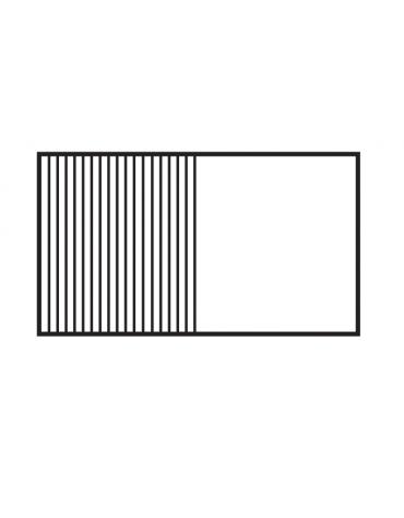 Fry top elettrico trifase-14,8kw su mobile a giorno piastra 1/2 liscia, 1/2 rigata cromata cm 116x51 - dim. 120x70,5x90h