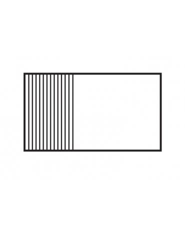 Fry top elett. trifase-16,65kw su mobile a giorno piastra 2/3liscia,1/3 rigata cromata 116x51, 3 zone di cott - cm 120x70,5x90h