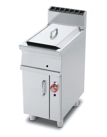 Friggitrice a gas su mobile - 1 vasca cm 24x35x38h con filtro e coperchio -  13Lt. - cm 40x70,5x90h