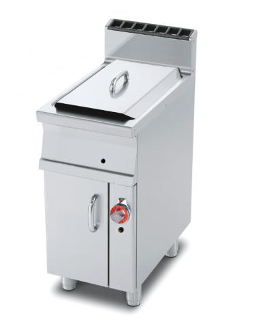 Friggitrice a gas su mobile - 1 vasca cm 33x38x38h con filtro e coperchio -  18Lt. - cm 40x70,5x90h