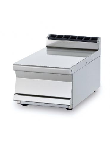 Piano di lavoro da banco in acciaio inox CrNi 18/10 AISI 304 con alzatina posteriore, senza cassetto - cm 30x70,5x28h