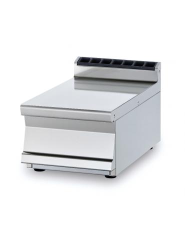 Piano di lavoro da banco in acciaio inox CrNi 18/10 AISI 304 con alzatina posteriore, senza cassetto - cm 40x70,5x28h