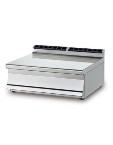 Piano di lavoro da banco in acciaio inox CrNi 18/10 AISI 304 con alzatina posteriore, senza cassetto - cm 60x70,5x28h