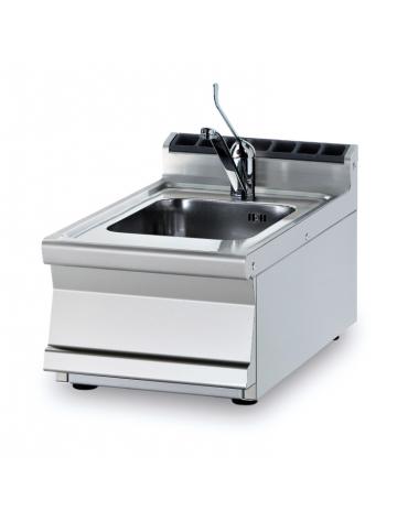 Lavello da banco inox CrNi 18/10 AISI 304, 1 vasca cm 30x35x15h, rubinetto a leva - dim. tot. cm 40x70,5x28h